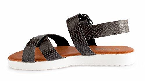 Noir Sandales Nu Rapidoshop 18 Pieds YS Plateforme Tongs Eté Chaussures Femme Spartiates ttw0fPq