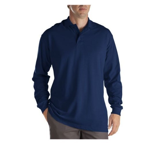 Dickies KL5452 Adult Size Long Sleeve Pique Polo Shirt Dark navy size 2X