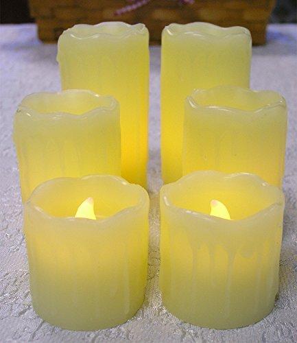 Cheap  LED Real Wax Pillar Candles - Set of 6 - Realistic Looking..