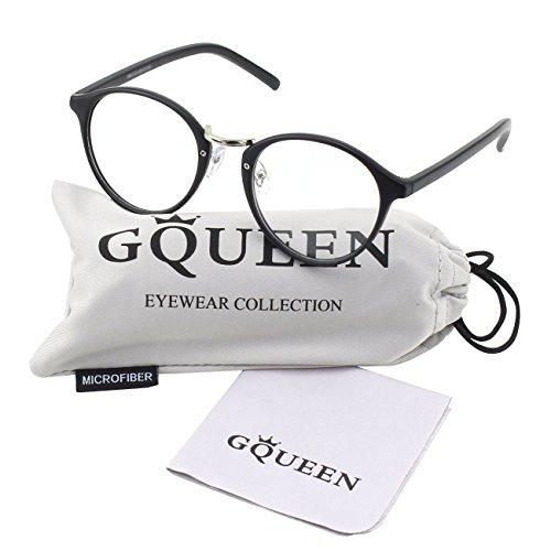[Glasses Queen 201565 Vintage Inspired Horned Rim Metal Bridge Clear Lens Eye Glasses,Matte Black] (Geek Chic Glasses)