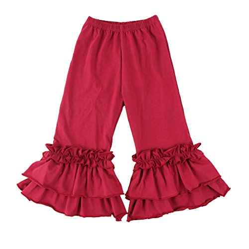 - Wennikids Infant/Toddler Girls Stretchy Flare Pants w/Ruffles 1-6T XX-Large Burgundy