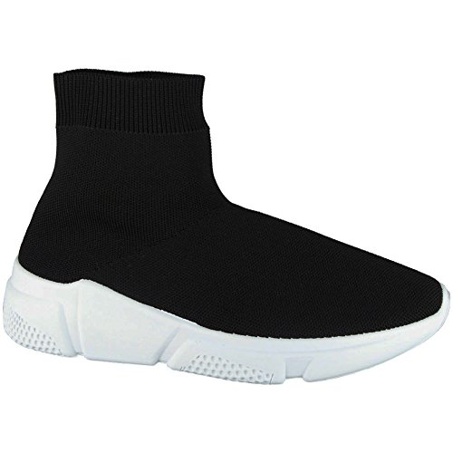 8 Sportive Running 3 Pompe Sock Gym Trainers Womens On Nero bianco Ladies Slip Fitness Shoes Look Taglie Loud 4Hx8ZZ
