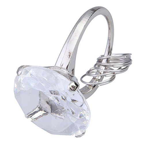 - BleuMoo Big Diamond Crystal Ring Keychain Romantic Wedding Favors Party Gift