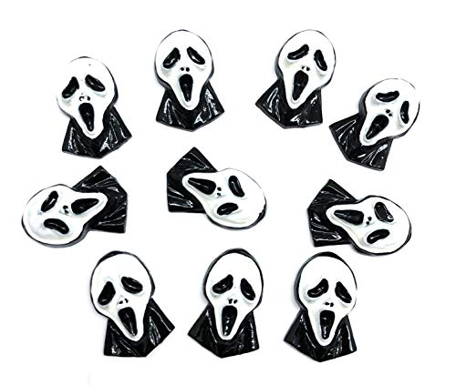 PEPPERLONELY 10PC Halloween Creepy Ghost Resin Flatback Cabochon DIY Flatback Scrapbooking Embellishment Decoration Craft Making, 20 x 30mm -