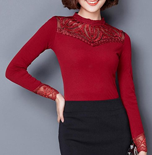 Round Lined UK Red Lace today Fleece Stitching Fit Slim Mesh Blouse Neck Top Women xOXxZ8pRwq