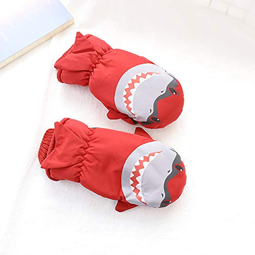 Eshall Kids Ski Gloves Waterproof and Breathable Winter Full-Finger Warm Mittens for Boys Girls Skiing Snowboarding Skating Hiking Cycling (4-8yrs, Red)