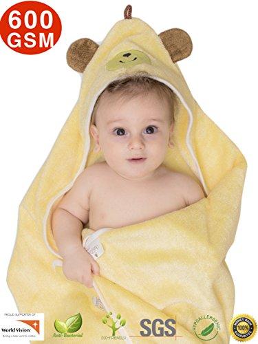 Premium Hooded Baby Towel, 100% ORGANIC Bamboo, FREE Baby Bib, Perfect Baby Shower Gift, 35x35