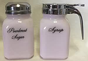 Breakfast Set - Syrup and Powdered Sugar - Glass - American Made (Crown Tuscan Pink Milk Glass)