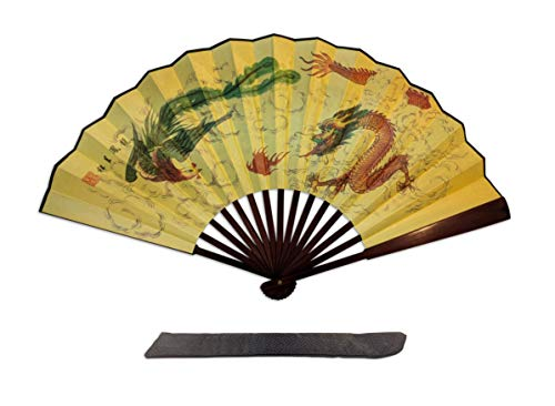 C&K Solutions Folding Hand Fan Chinese Gifts- Dragon and Phoenix Large Premium Quality Handheld Japanese Fans