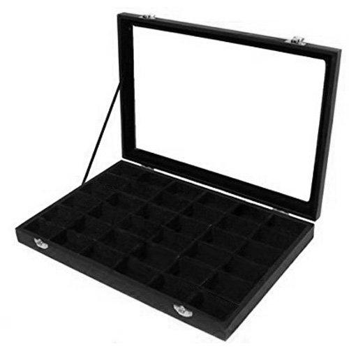amzdeal® Schmucklade Schaukasten Sortierkasten mit Glasdeckel 36 Fächer schwarz