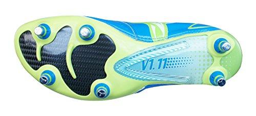 Chaussures de Foot V1.11 SG Bleu/Citron Vert/Blanc