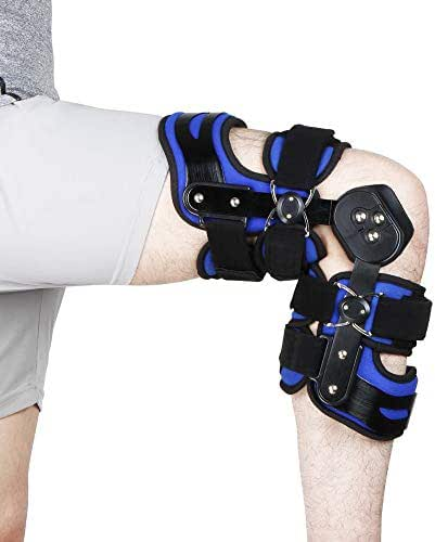 REAQER Post Op Hinged Knee Brace Adjustable Medical Open Patella Support Stabilizer for Swollen ACL, Tendon, Ligament and Meniscus Injuries