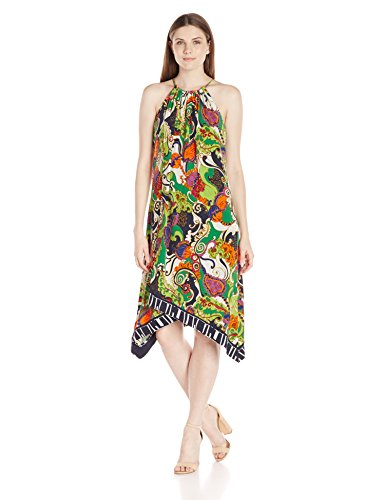 Trina Turk Women's Michalin Turkish Delight Matte Jersey Midi Dress, Multi, 4 41mVcak5h6L