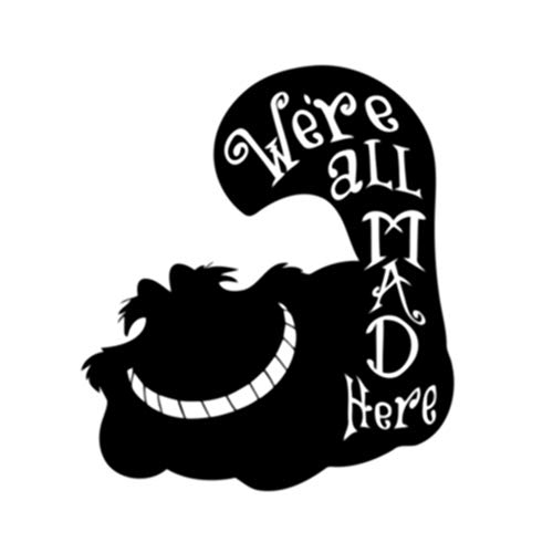 Cheshire Cat We are All Mad Here Quote Removable Wall Decal Vinyl Sticker Alice in Wonderland Art Decorations for Home Housewares Bedroom Kids Teen Girls Room Cartoon Decor alice3]()