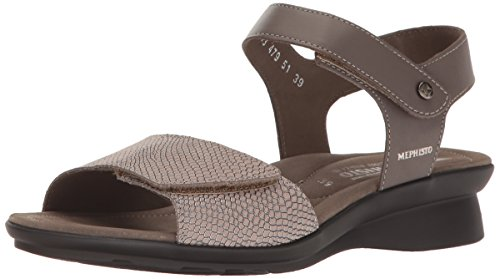 (Mephisto Women's Pattie Dress Sandal, Grey Silk/Dark Taupe Python, 6 M US)