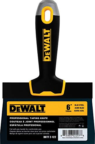 DEWALT 6-Inch Taping Knife | Blue Steel w/Soft Grip Handle | DXTT-2-122