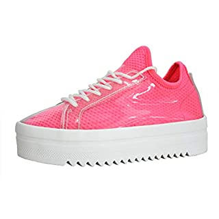 LUCKY-STEP Women's Platform Sneakers - Lace Up Casual Chunky Shoes Glassy Leather Sneaker - Sports Wear