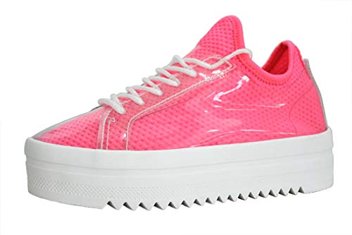 LUCKY-STEP Women's Platform Sneakers - Lace Up Casual Chunky Shoes Glassy Leather Sneaker - Sports Wear (8 B(M) US, Fuchsia)