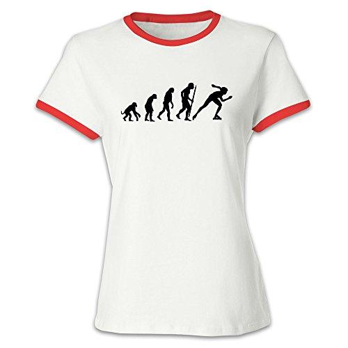 (Women's Evolution Of Inline Speed Skating Baseball Tee Shirt Red)