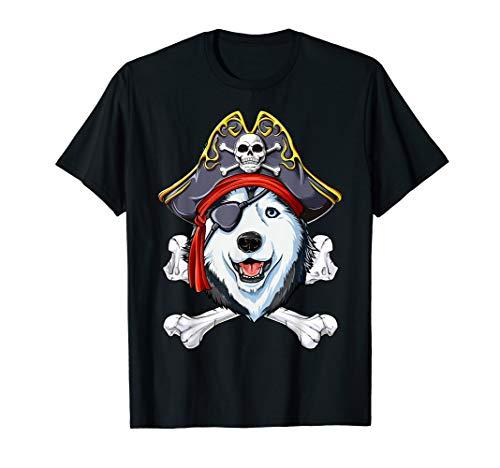 Siberian Husky Pirate T shirt Jolly Roger Crossbones Skull ()