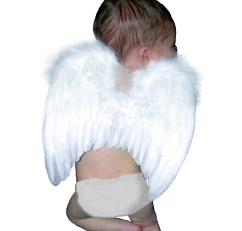 Fashionwings (TM) White Costume Feather Angel Wings & Halo for 6-18 Mo Babies & Bonus Poster Frame (Angel Halo Costume)