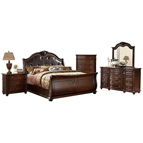 - Hillcrest Manor 2169SL Traditional Eastern King Bedroom Set in Rich Cherry, 5-Piece