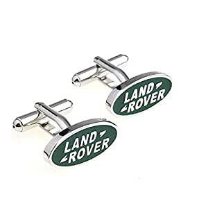 Rykyr & Luna - Land Rover Green White Cufflinks - Men's French Cuff-Link for Wedding, Formal, Birthday, Graduation, Christmas, Father Day, Groom, Best Man, Business Attire Shirt + Free Deluxe Cufflinks Gift Box
