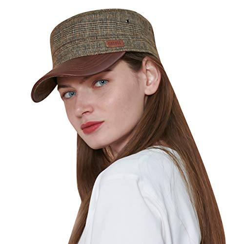 CACUSS Cotton Fashion Military Hats Men Women Adjustable Army Cap Comfy Cadet Hat Flat Top Cap Baseball Cap (Coffee) ()