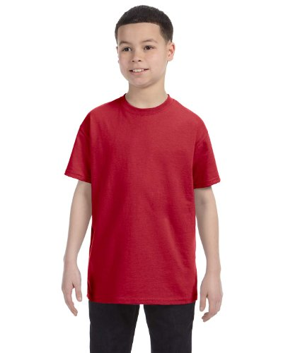 Jerzees Youth 5.6 oz. 50/50 Heavyweight Blend T-Shirt, True Red, (Red Youth Heavyweight T-shirt)
