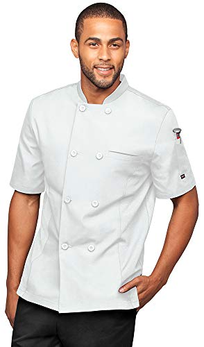 Men's Short Sleeve Chef Coat with Mesh Side Panels (S-3X, 4 Colors) (Medium, White)