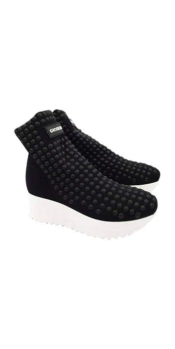 Gioselin Scarpa Donna Sneakers Flat Borchie Studs Nero Nero  Amazon ... 0da3d75a621