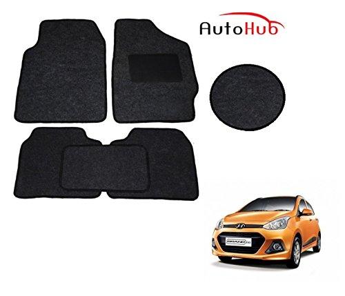 Auto Hub Premium Car Floor Carpet Foot Mats Compatible with Hyundai Grand i10   Soft Black