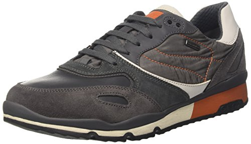 Geox Herren U Sandford B Abx Une Chaussure, Gris (anthracite / Orange)
