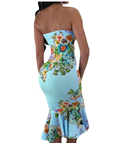 Volants Swing Imprim Mince Midi Domple Gaine Parti Sans Robe Bretelles Femmes Bleu Clair qgX8wnHq