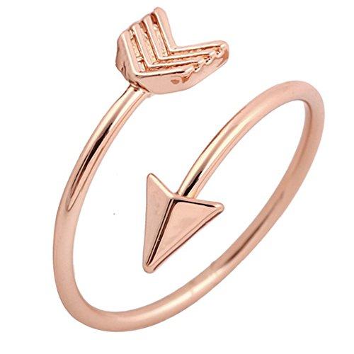 (Rose Gold Arrow Ring, Inspirational Ring, Promise Ring, Graduation Ring, Friendship Ring, Travel Ring, Toe Ring - Adjustable )