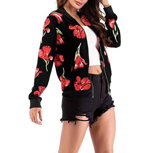 Automne Fashion Jacket Printemps Casual Hauts Baseball Femmes Fox Bomber Coat Outerwear Fräulein Blousons Imprimé Top Vestes Court Manteau Longues Manches z7qREwxp