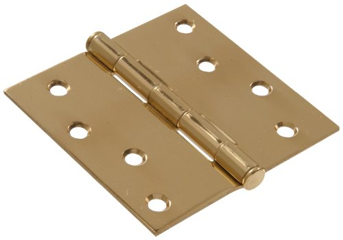 Solid Brass Hinge Square Corners - The Hillman Group 851260 4-Inch Residential Door Hinge with Square Corner Removable Pin Full Mortise, Solid Brass