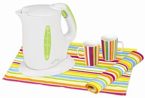UPC 877340001178, Kalorik JK-25697L Sunny Morning 1500-Watt Cordless Jug Kettle with 2 Mugs and 2 Table Mats, Lime