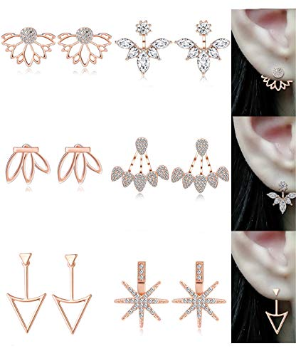 (Tornito 12 Pairs Lotus Flower Earring Studs Chic CZ Earrings Jackets For Women Girls Silver Rose Gold Tone (D:6 Pairs, Rose Gold Tone))
