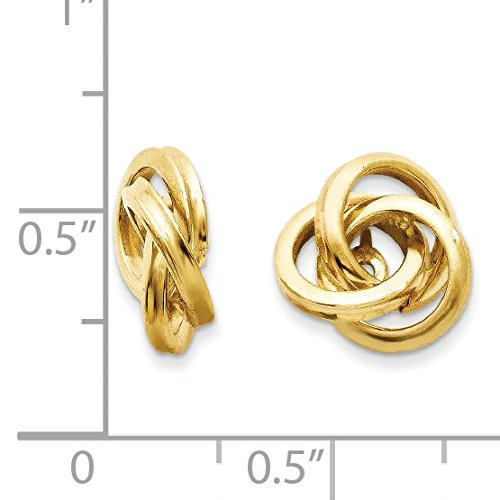 14K Yellow Gold Polished Love Knot Earring Jackets - (0.47 in x 0.39 in)