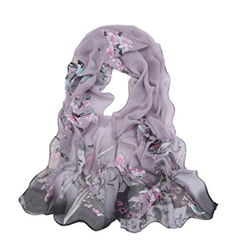 Veenajo Women's Floral Scarves Pashmina Printed Design Soft Chiffon Shawl Wraps Scarf