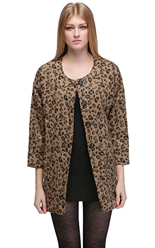 MEXI Leopard Wollmischung Langarm Lose Outwear Jacket XXL