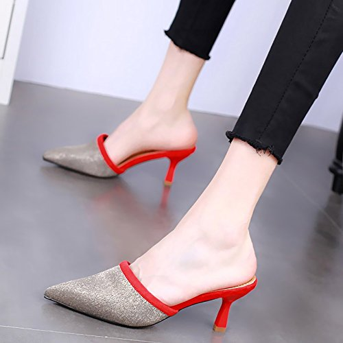 gules Drag Heel 7Cm Thin High Summer KPHY Slippers Pointed Heels Baotou Semi Shoes Middle Heels Sexy Slippers Female Sharp Coloring Cool xnRXFH