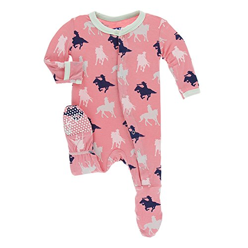 Kickee Pants Little Girls Print Footie With Snaps - Strawberry Cowgirl, 18-24 Months