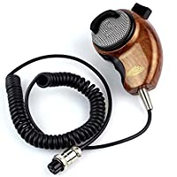 Pukido Heavy Duty HG-M84W Microphone Woodgrain Noise Canceling Handheld PTT Speaker Mic for Cobra CB Radio Elegant Ham Mic - (Plug Type: HG-M84W Speaker)