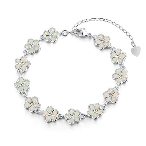 CiNily Sterling Silver Plated White Opal Flower Bracelet-Plumeria Hawaiian Flower Link Tennis Bracelet for Women October Birthstone - Hawaiian Bracelet Plumeria