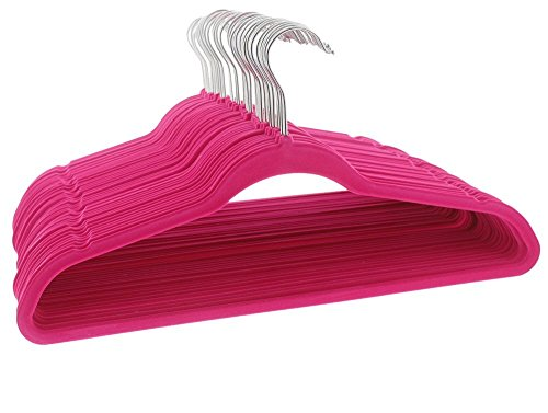 Hot Pink Velvet Hangers - No Slip Flocked Hangers - Ultra Th
