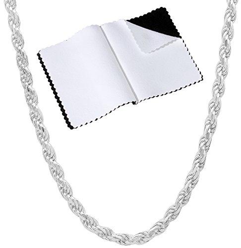 3.2mm 925 Sterling Silver Nickel-Free Diamond-Cut Rope Link Italian Chain, 22