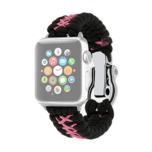 (⌚ Watch Band Replacement Nylon Woven Band for Apple Watch Band iWatch 4/3/2 38mm/40mm ♔Sunbon Wristband Bracelet Strap Watch Band Link Ring Compatible with 4/3/2/1 40/42/44mm (Pink))