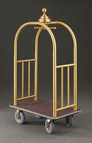 (Glaro 8840 Signature Bellman Cart with Satin Brass finish, Brown carpet color, and Gray bumper. Includes Pneumatic Gray tires.)